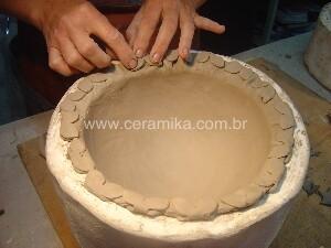 porcelana modelada em molde de gesso
