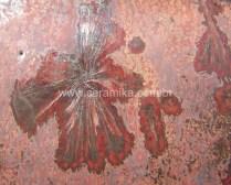 cristal em esmalte ceramico vermelho