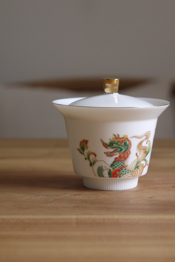 Dehua Handmade White Porcelain Dragon Gaiwan   Ceramitique