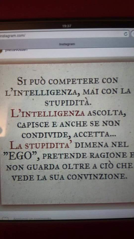 Si può competere con l'intelligenza, mai con la stupidità. L'intelligenza ascolta, capisce e anche se non condivide, accetta… La stupidità dimena nel ego, pretende ragione e non guarda oltre a ciò che vede la sua convinzione…