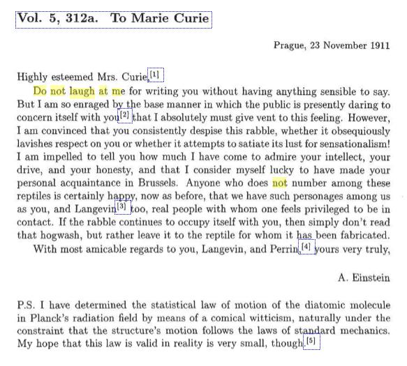 Carta de Einstein a Marie Curie 1911