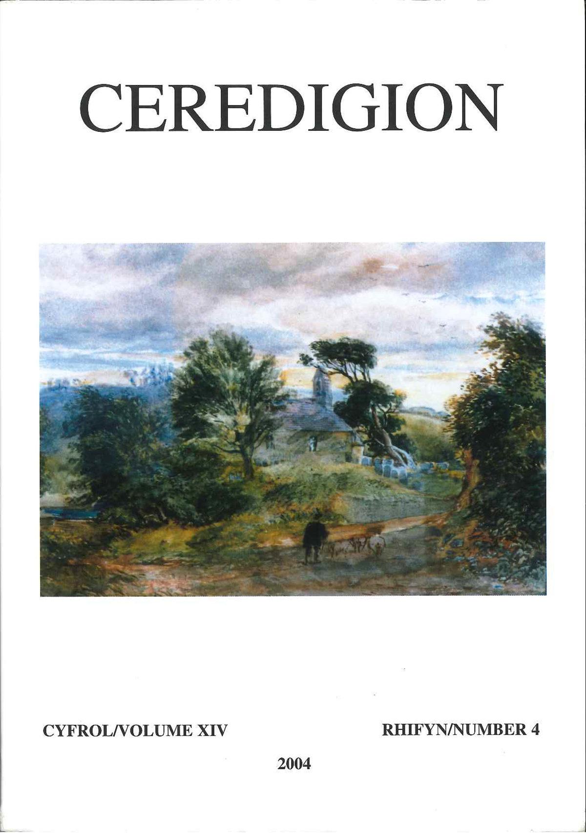 Ceredigion - Cylchgrawn Cymdeithas Hanes Ceredigion, Cyfrol XIV, Rhifyn 4, 2004 - ISBN 0069 2263