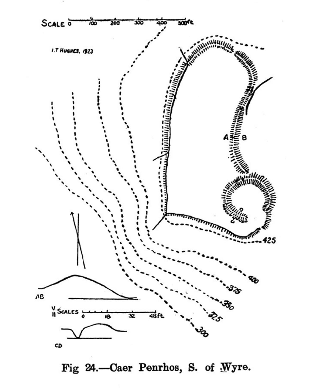 Site plan of Caer Penrhos South of Wyre, Llanrhystyd