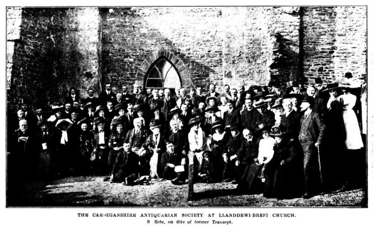 Cardiganshire Antiquarian Society - At Llanddewi-Brefi Church, South side, on side of former Transept