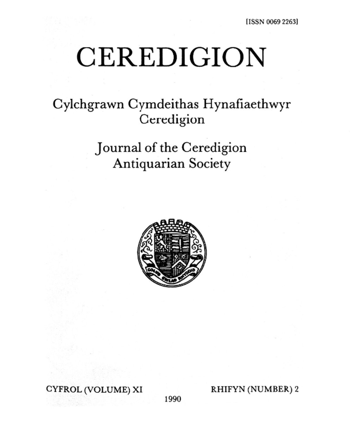 Ceredigion – Journal of the Cardiganshire Antiquarian Society, 1990 Vol XI No 2
