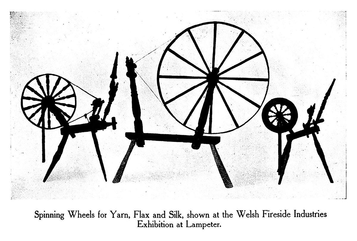 Dangosir Spinning Wheels ar gyfer Yarn, Flax a Silk yn Arddangosfa Diwydiannau Fireside Cymru yn Llanbedr Pont Steffan