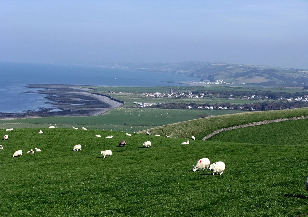View of Llanon from A487 - Discover the archaeology, antiquities and history of Ceredigion