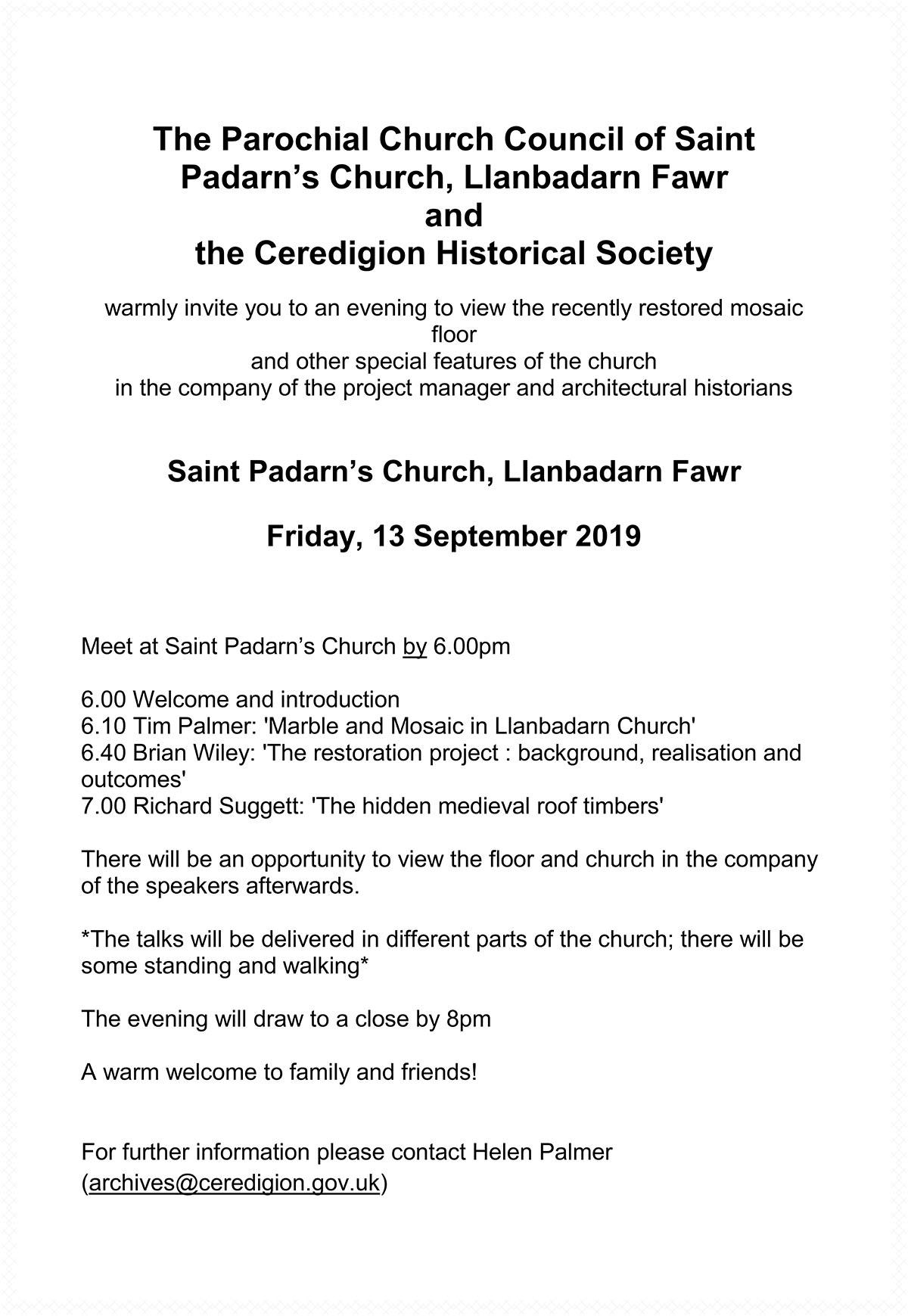 The Parochial Church Council of Saint Padarn's Church, Llanbadarn Fawr and the Ceredigion Historical Society
