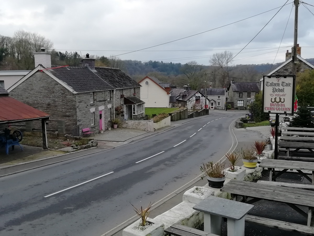 Cenarth High Street leading to the bridge over the Teifi
