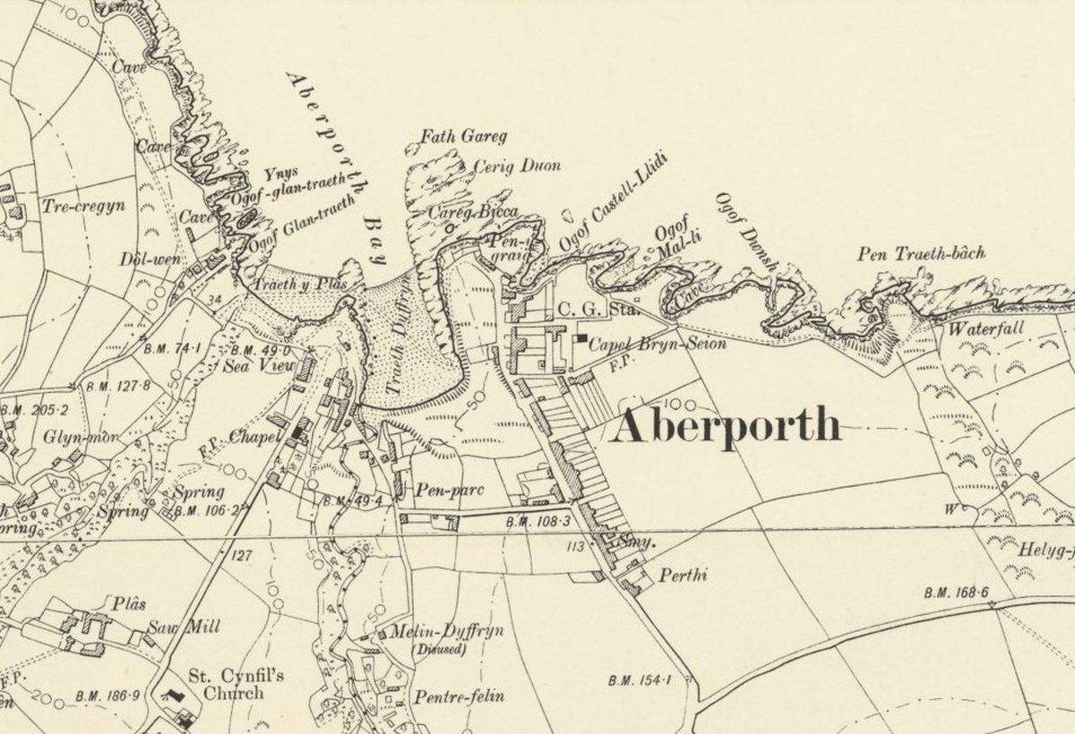 Aberporth Historic Mapping - OS Six Inch, 1888-1913, Reproduced with the permission of the National Library of Scotland