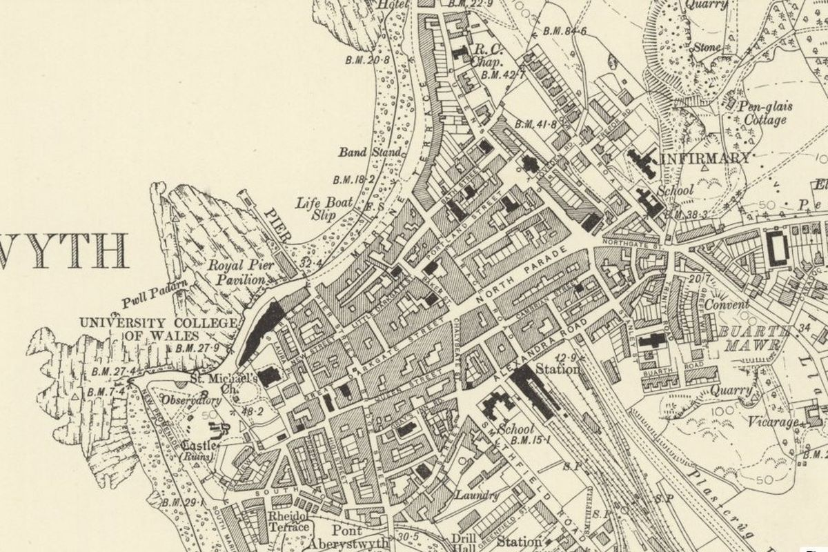 Aberystwyth Historic Mapping - OS Six Inch, 1888-1913, Reproduced with the permission of the National Library of Scotland