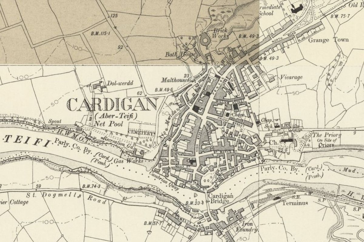 Cardigan Historic Mapping - OS Six Inch, 1888-1913, Reproduced with the permission of the National Library of Scotland