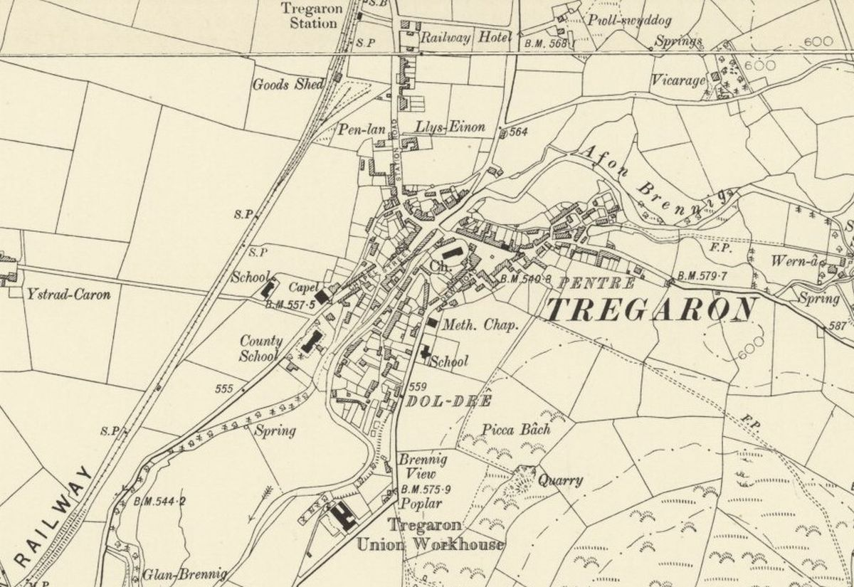 Tregaron Historic Mapping - OS Six Inch, 1888-1913, Reproduced with the permission of the National Library of Scotland