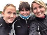 Silvana, Trine K og Ragnhild klare for de tre siste etappene av dag 1 under St. Olavsloppet 2014.