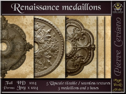 Renaissance medaillons - 5 FULL PERMS Textures