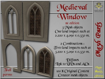 Medieval window I - 1 LI each - 3 FULL PERMS Meshes