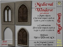 Medieval window III - 1 LI each - 2 FULL PERMS Meshes