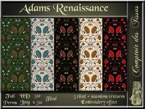 Adams Renaissance - 5 FULL PERMS Textures