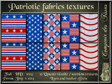 Patriotic fabrics - 10 FULL PERMS Textures