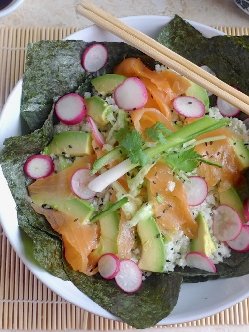 Open Cauliflower Sushi Salad with Smoked Salmon