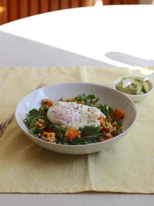 Sweet Potato & Buckwheat Brunch Bowl with Avocado Cream