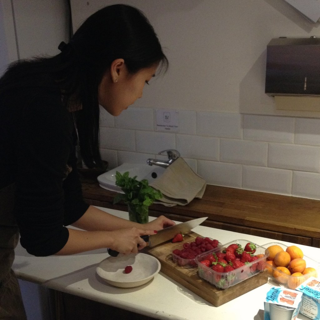Jo Yee, styling the fruit salad