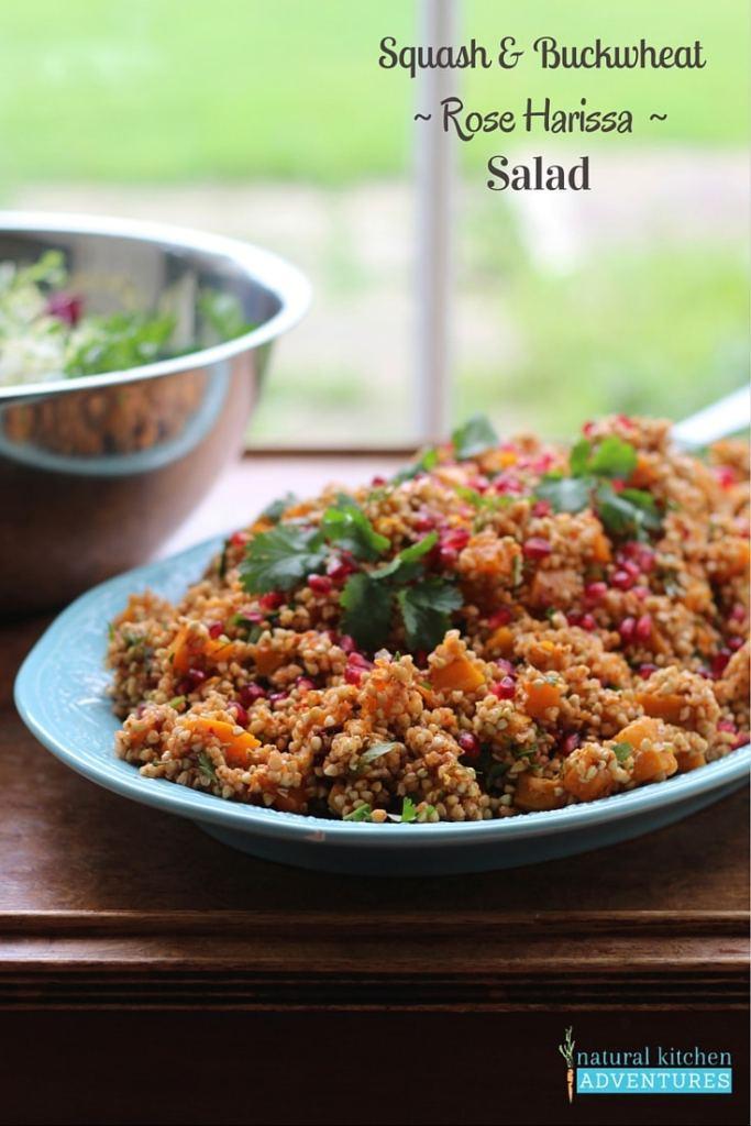 Squash and Buckwheat Rose Harissa Salad, Natural Kitchen Adventures, Gluten Free & Vegan