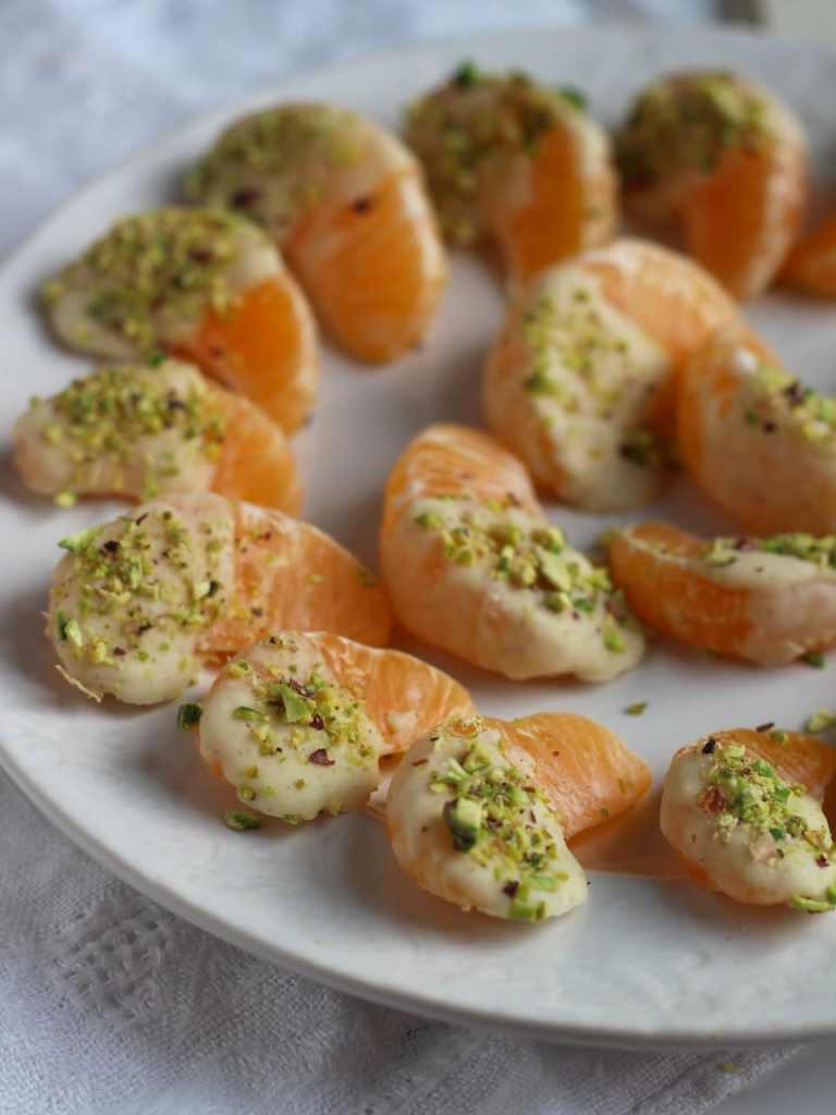 Cardamom White Chocolate Dipped Clementines Pistachio | Natural Kitchen Adventures