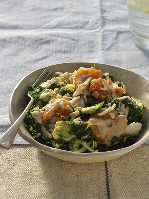 Massaged Kale and Shaved Sprouts Salad with Shredded Chicken & Blood Orange Tahini Dressing