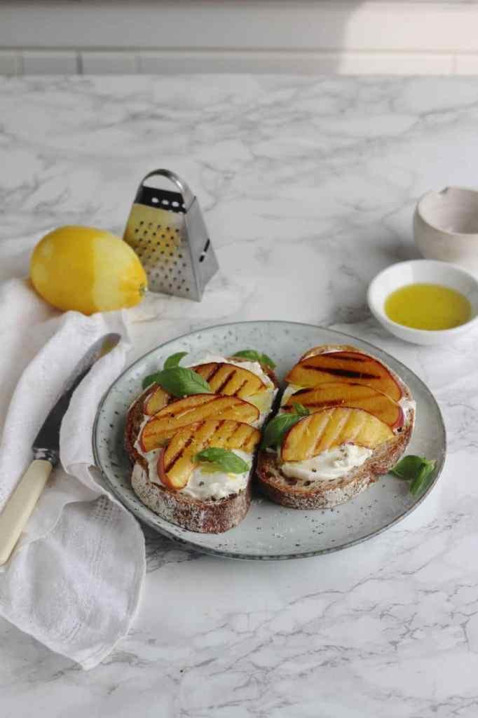 Nectarine Tartine Labne Basil Oil | Natural Kitchen Adventures | Sourdough, Summer, Light Bites, Breakfast, Organic September