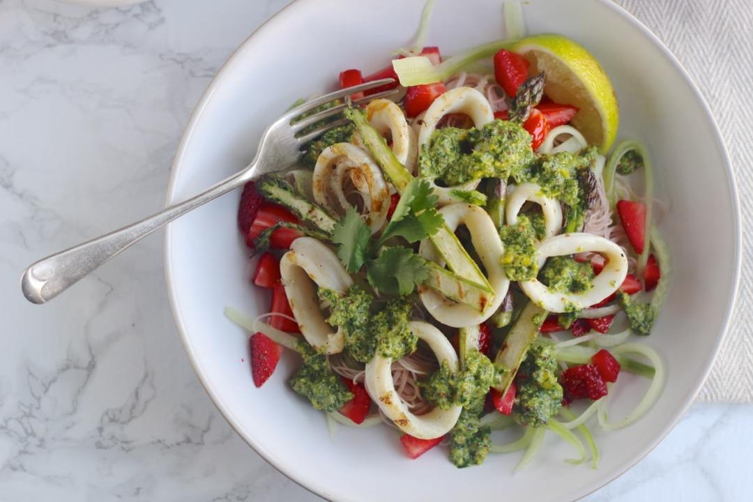 Strawberry Squid Salad with Cucumber, brown rice noodles, asparagus and chilli lime pesto