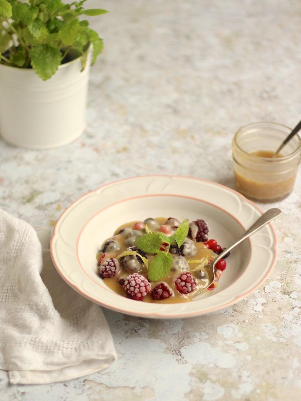 Frozen summer berries vegan white chocolate sauce   Natural Kitchen Adventures