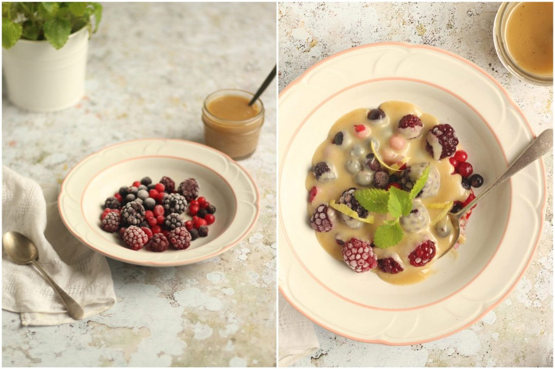 Frozen summer berries vegan white chocolate sauce, lemon, cardamom   Natural Kitchen Adventures