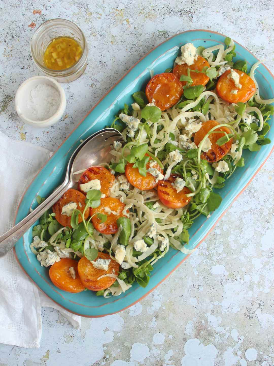 Griddled apricot salad with fennel, watercress and blue cheese, summer salad, vegetarian