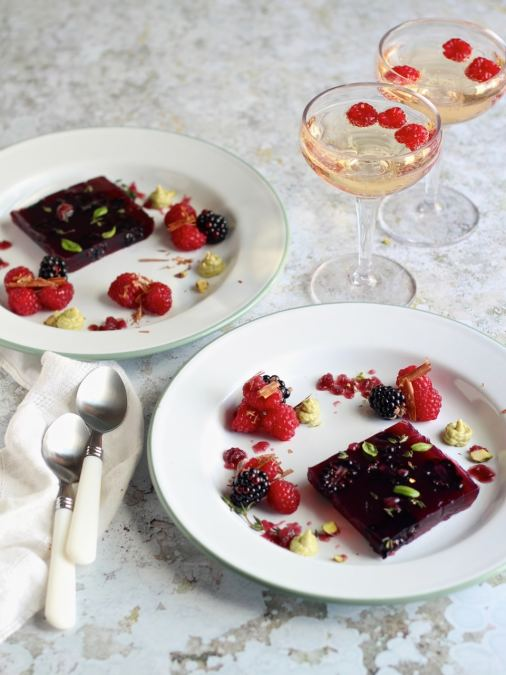 Blackberry Appletiser Jelly & Granita, with Berries and Pistachio Cream