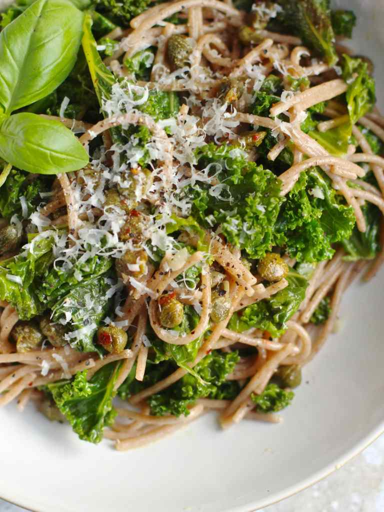 Garlicky Kale & Spelt Spaghetti with Chilli Crispy Capers, a vegetarian healthy spaghetti supper dish by Natural Kitchen Adventures