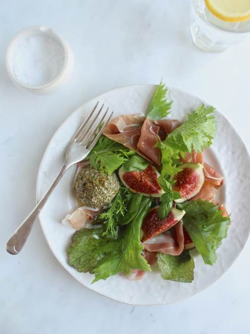 Herb Rolled Cashew Cheese with Parma Ham, Figs & Leaves