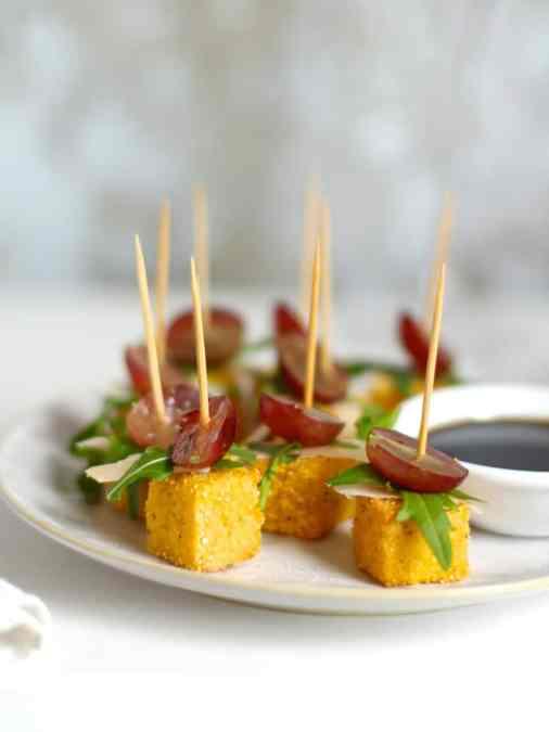 Parmesan Polenta Bites with Rocket & Grape
