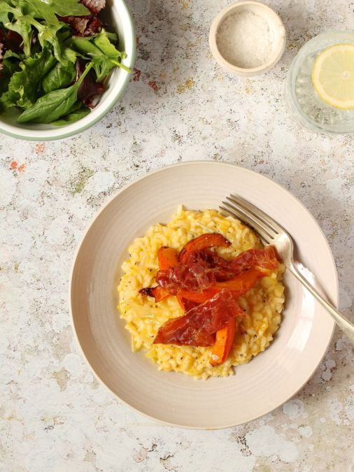 Red Kuri Squash Risotto with Parma Ham & Blue Cheese