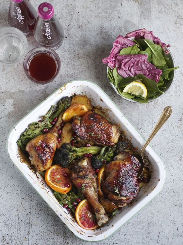 Chicken, Purple Sprouting Broccoli & Pomegranate Molasses Tray bake | Natural Kitchen Adventures