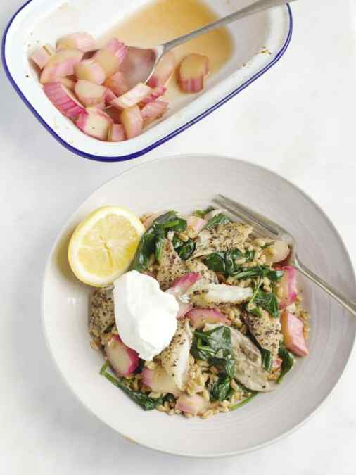 Spelt, Rhubarb and Smoked Mackerel