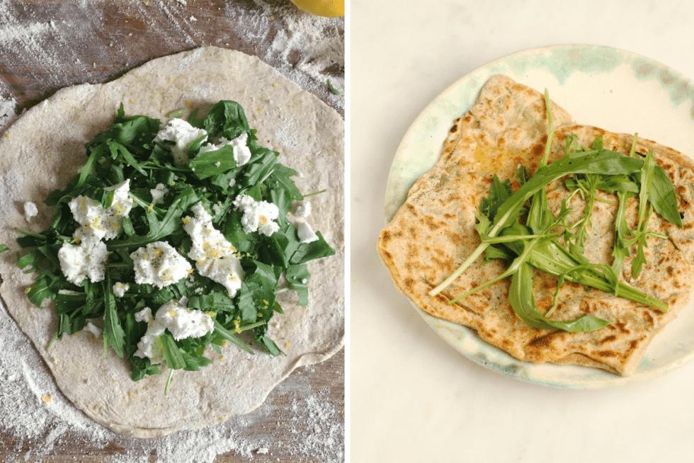 Wild Garlic, Rocket and Goat's Cheese Gözleme | from Henrietta Inman's The Natural Baker | Natural Kitchen Adventures