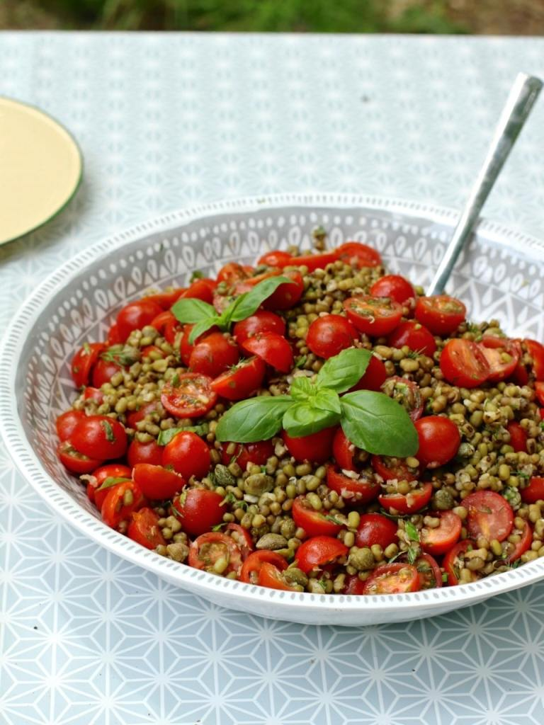 Cherry Tomato Mung Bean Salad, with Capers and Basil