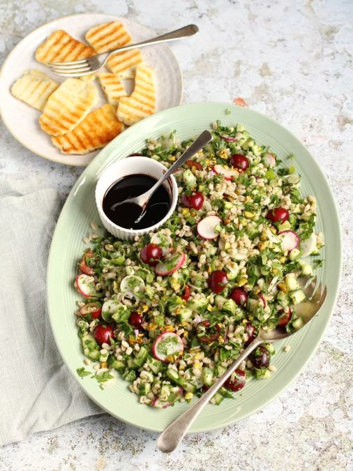 Cherry, Herb and Pearl Barley Salad with Halloumi & Cherry Balsamic Glaze