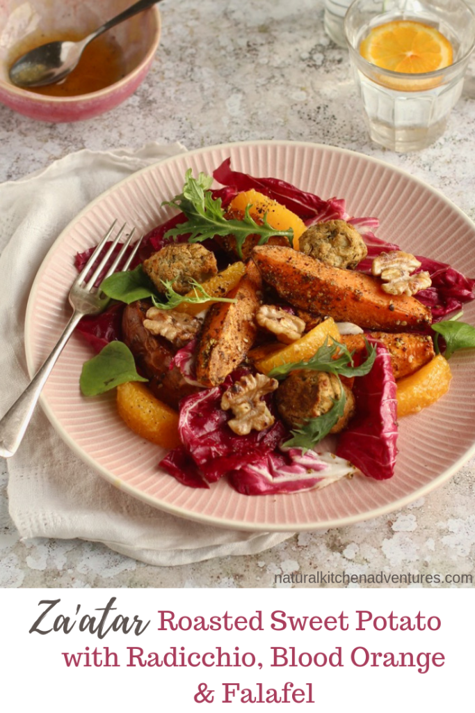 za'atar roasted sweet potato with radicchio, blood orange and falafel | Natural Kitchen Adventures