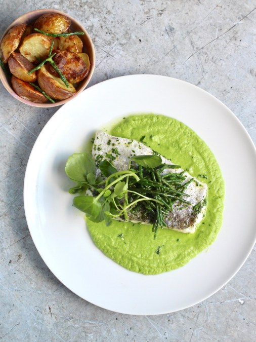 Herb Baked Fish with Pea Purée, Samphire & Shoots