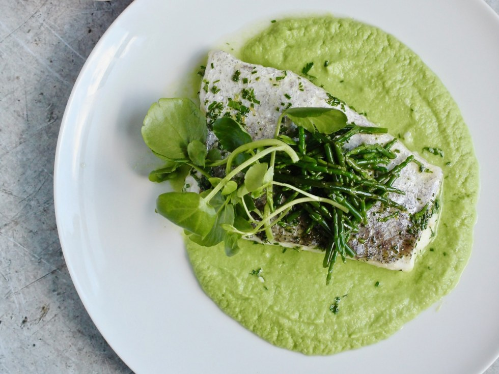 Herb Baked Fish Pea Puree Samphire | Natural Kitchen Adventures