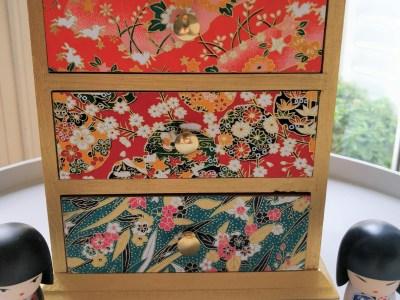 Boîte à bijoux 3 tiroirs papier japonais