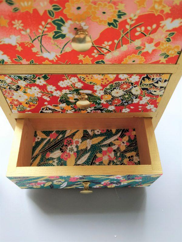Cerisier indigo petit meuble bijoux tiroirs 3