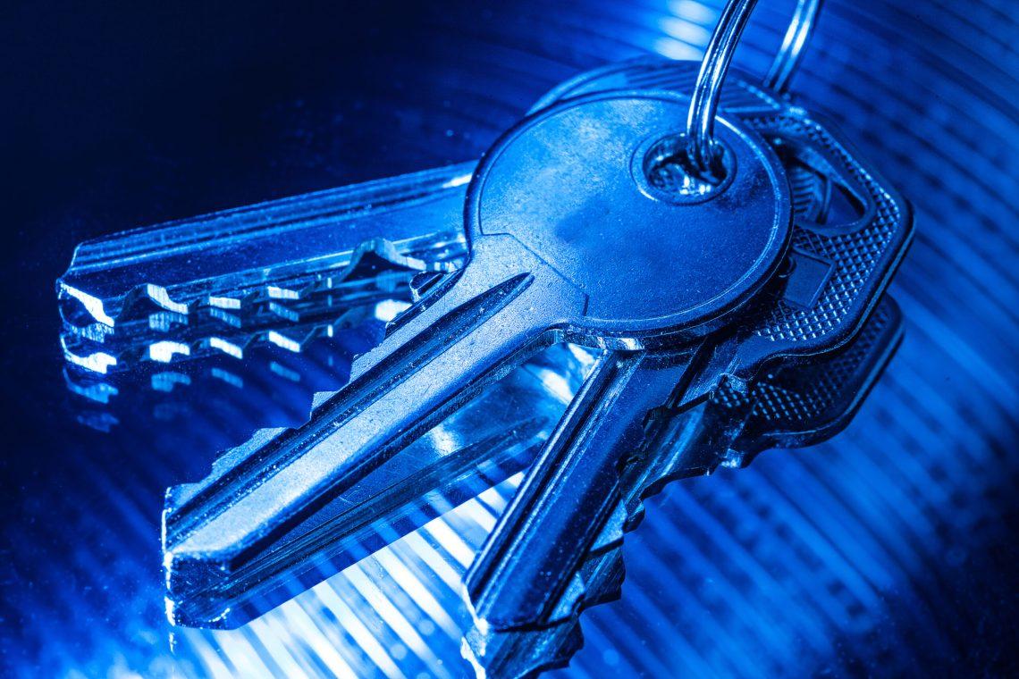 Llave que abre todas las cerraduras de una casa. Foto de tres llaves en un llavero, bajo una luz azulada.